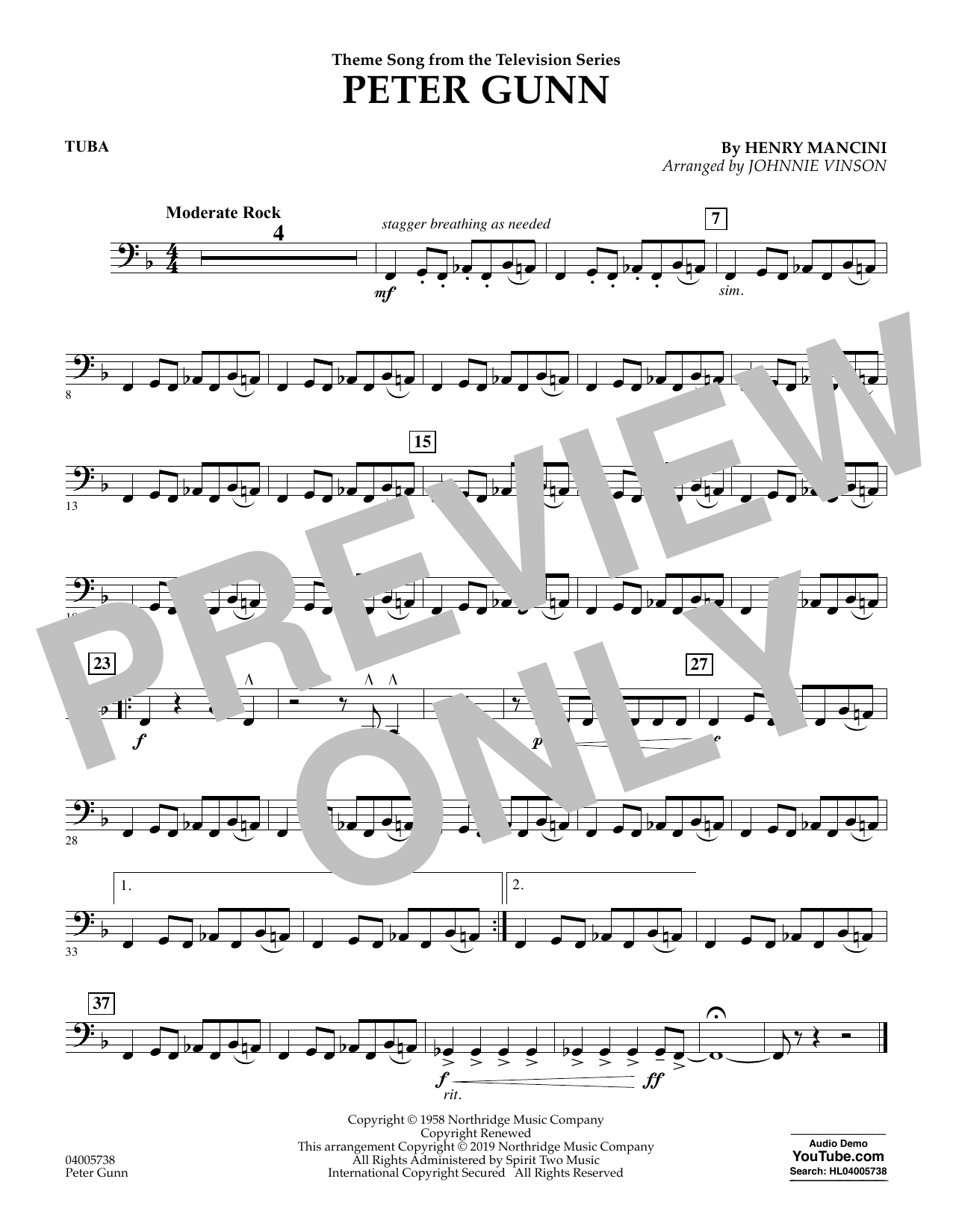 Henry Mancini Peter Gunn (arr. Johnnie Vinson) - Tuba sheet music preview music notes and score for Concert Band including 1 page(s)