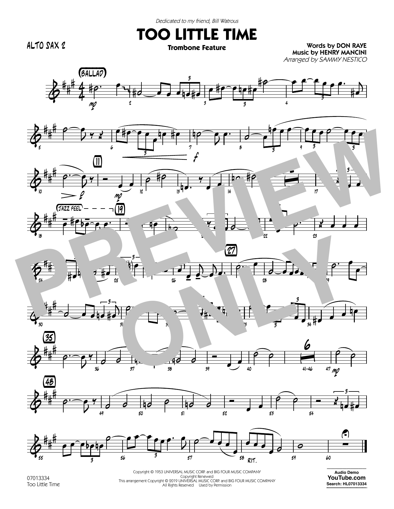 Henry Mancini Too Little Time (arr. Sammy Nestico) - Conductor Score (Full Score) - Alto Sax 2 sheet music preview music notes and score for Jazz Ensemble including 1 page(s)