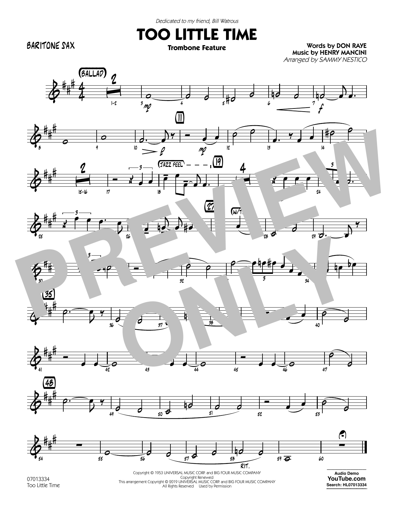 Henry Mancini Too Little Time (arr. Sammy Nestico) - Conductor Score (Full Score) - Baritone Sax sheet music preview music notes and score for Jazz Ensemble including 1 page(s)
