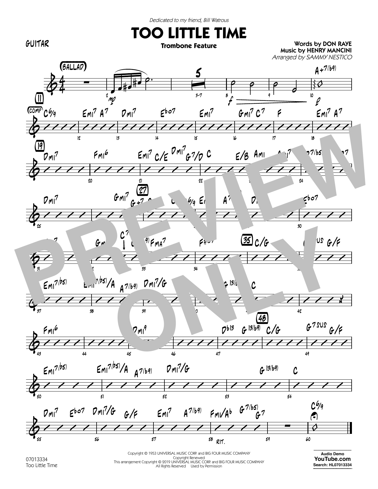 Henry Mancini Too Little Time (arr. Sammy Nestico) - Conductor Score (Full Score) - Guitar sheet music preview music notes and score for Jazz Ensemble including 1 page(s)