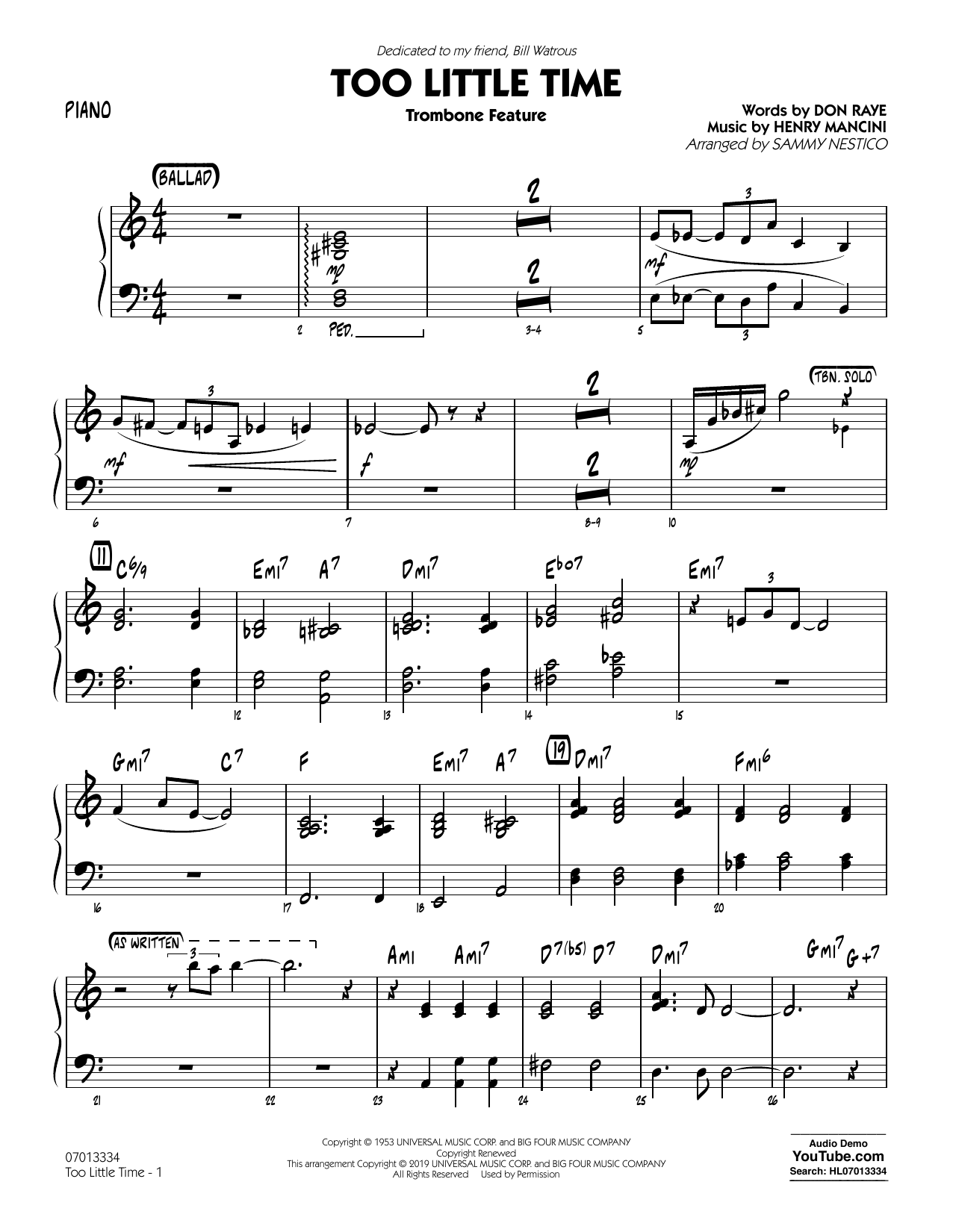 Henry Mancini Too Little Time (arr. Sammy Nestico) - Conductor Score (Full Score) - Piano sheet music preview music notes and score for Jazz Ensemble including 2 page(s)
