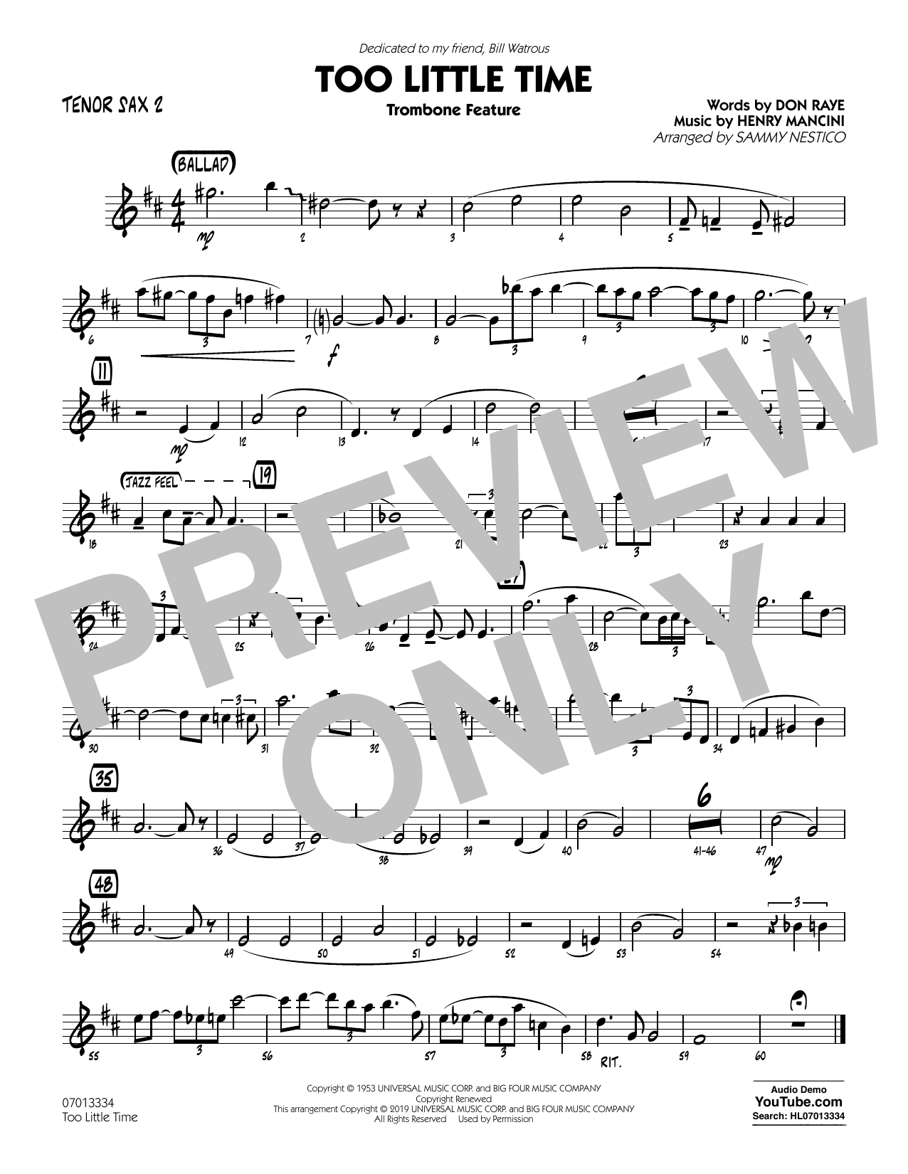 Henry Mancini Too Little Time (arr. Sammy Nestico) - Conductor Score (Full Score) - Tenor Sax 2 sheet music preview music notes and score for Jazz Ensemble including 1 page(s)