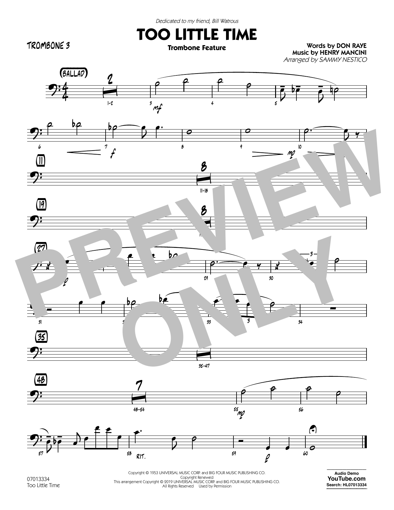 Henry Mancini Too Little Time (arr. Sammy Nestico) - Conductor Score (Full Score) - Trombone 3 sheet music preview music notes and score for Jazz Ensemble including 1 page(s)