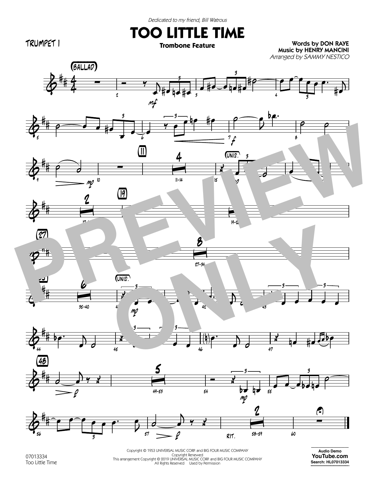 Henry Mancini Too Little Time (arr. Sammy Nestico) - Conductor Score (Full Score) - Trumpet 1 sheet music preview music notes and score for Jazz Ensemble including 1 page(s)