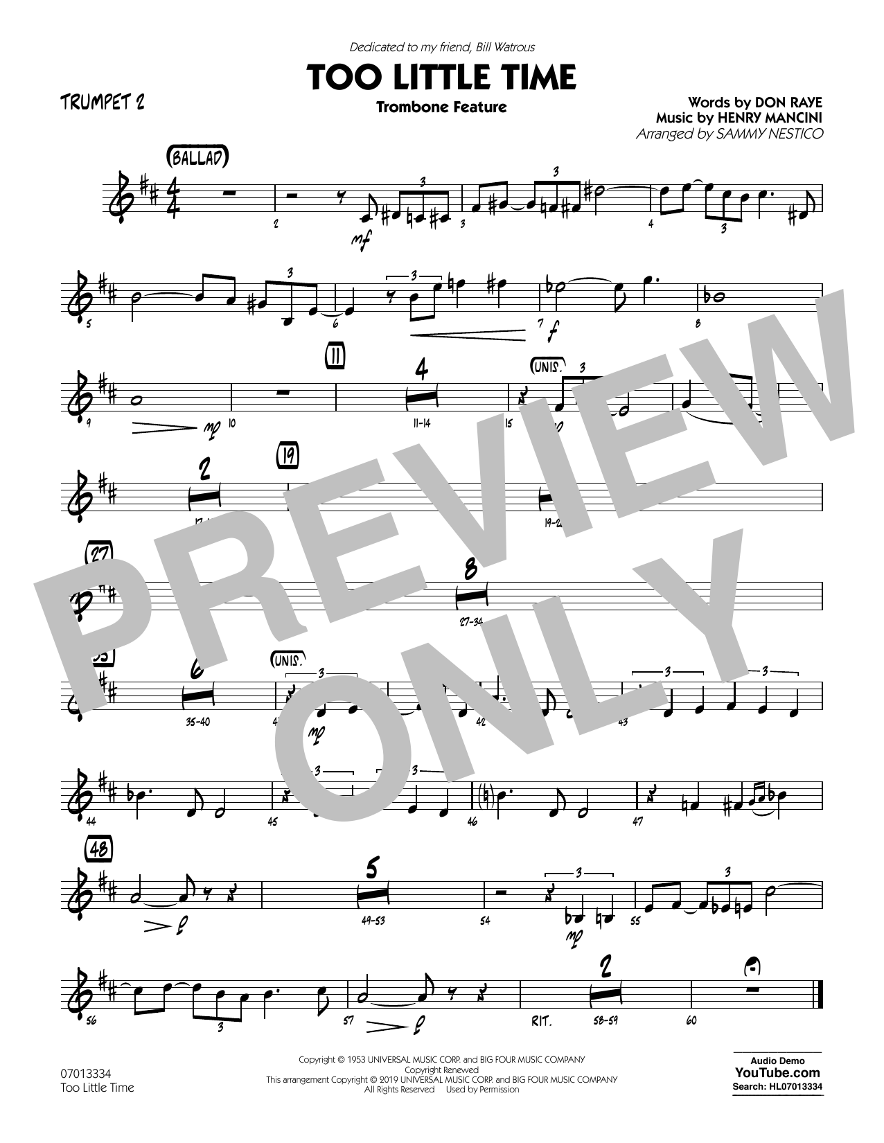 Henry Mancini Too Little Time (arr. Sammy Nestico) - Conductor Score (Full Score) - Trumpet 2 sheet music preview music notes and score for Jazz Ensemble including 1 page(s)