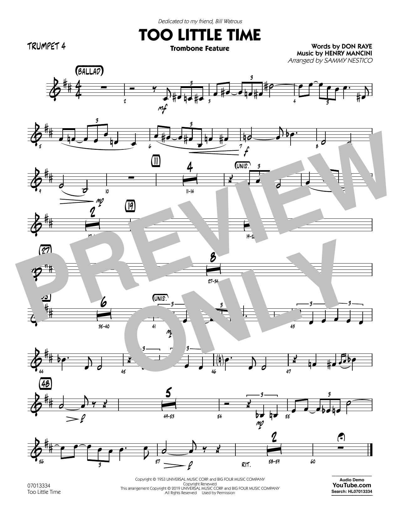 Henry Mancini Too Little Time (arr. Sammy Nestico) - Conductor Score (Full Score) - Trumpet 4 sheet music preview music notes and score for Jazz Ensemble including 1 page(s)