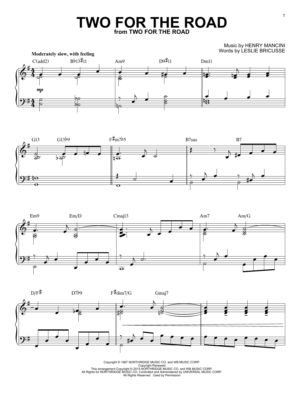 Download Henry Mancini 'Two For The Road' Digital Sheet Music Notes & Chords and start playing in minutes