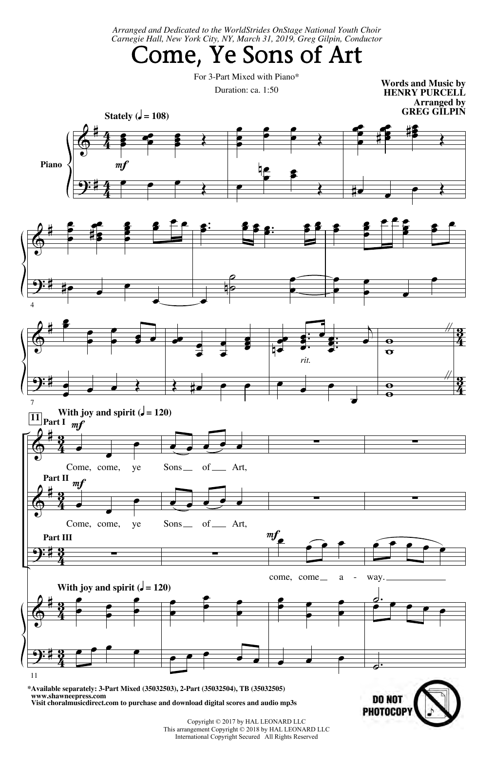 Download Henry Purcell 'Come, Ye Sons Of Art (arr. Greg Gilpin)' Digital Sheet Music Notes & Chords and start playing in minutes