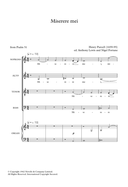 Download Henry Purcell 'Miserere Mei' Digital Sheet Music Notes & Chords and start playing in minutes
