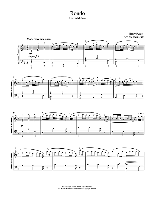 Download Henry Purcell 'Rondo from Abdelazer' Digital Sheet Music Notes & Chords and start playing in minutes