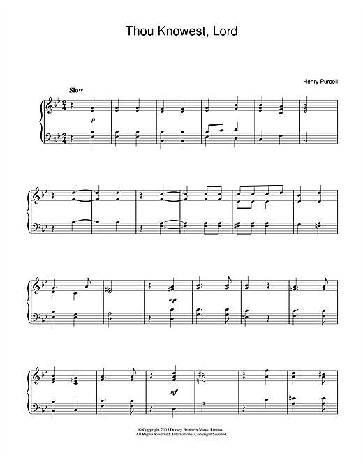 Download Henry Purcell 'Thou Knowest, Lord' Digital Sheet Music Notes & Chords and start playing in minutes
