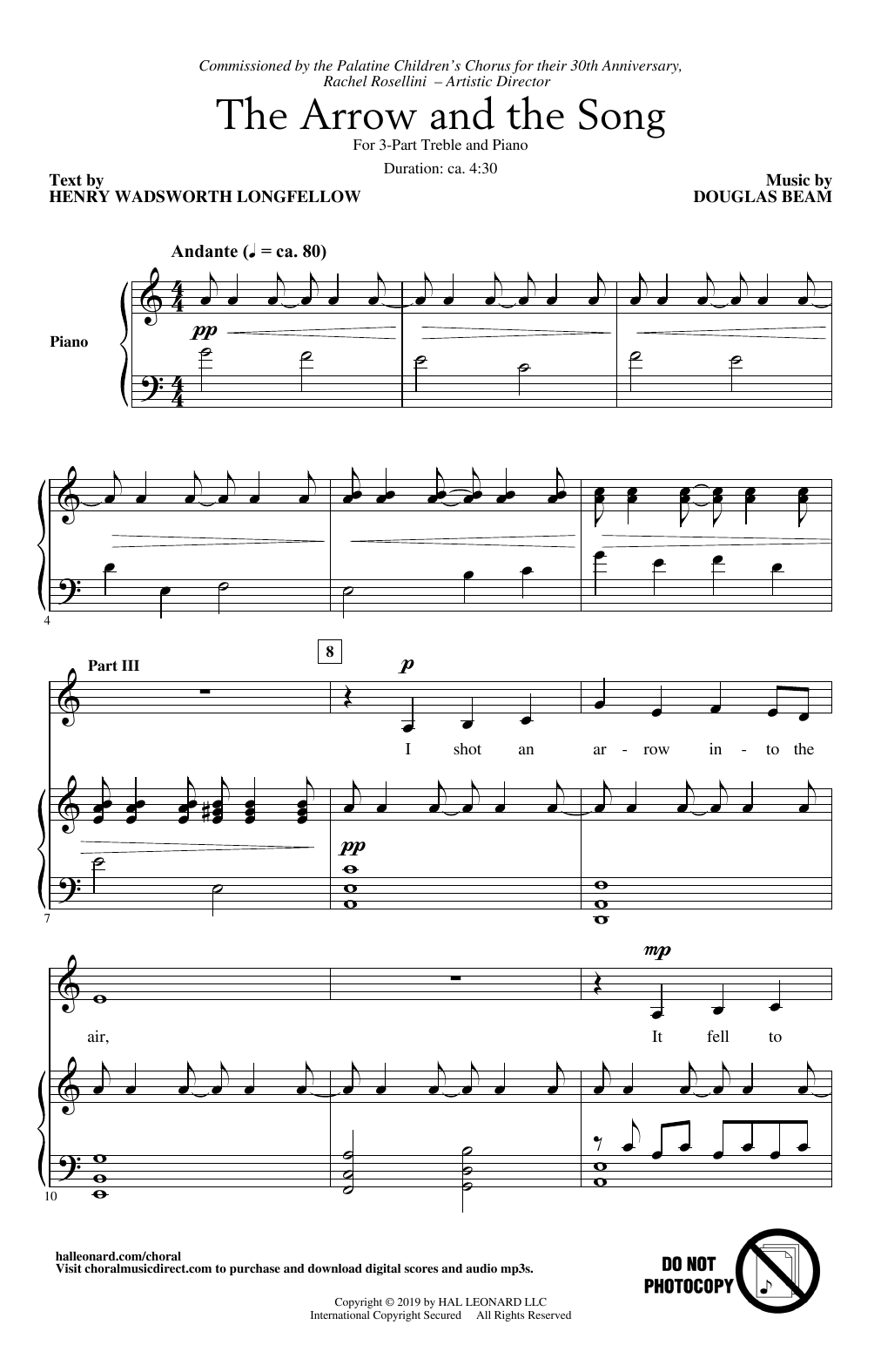 Download Henry Wadsworth Longfellow and Douglas Beam 'The Arrow And The Song' Digital Sheet Music Notes & Chords and start playing in minutes