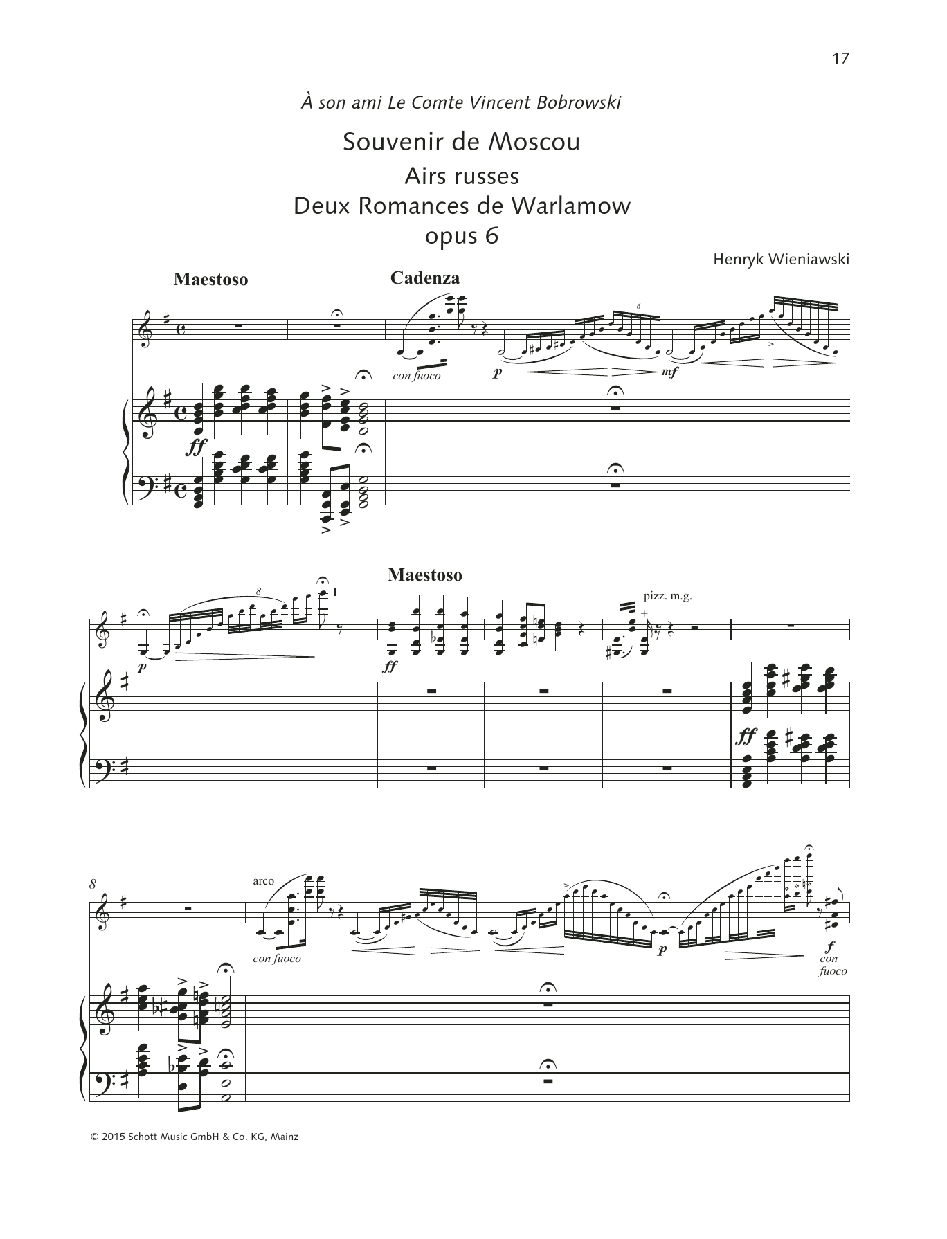 Henryk Wieniawski Souvenir de Moscou/Airs russes sheet music preview music notes and score for String Solo including 16 page(s)