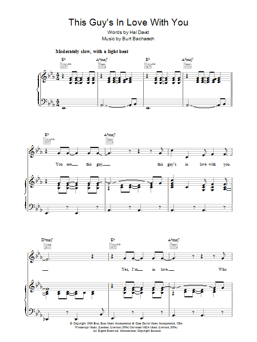Herb Alpert & The Tijuana Brass This Guy's In Love With You sheet music preview music notes and score for Piano, Vocal & Guitar (Right-Hand Melody) including 3 page(s)