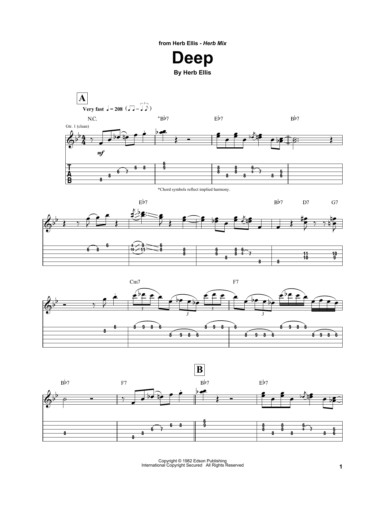 Download Herb Ellis 'Deep' Digital Sheet Music Notes & Chords and start playing in minutes