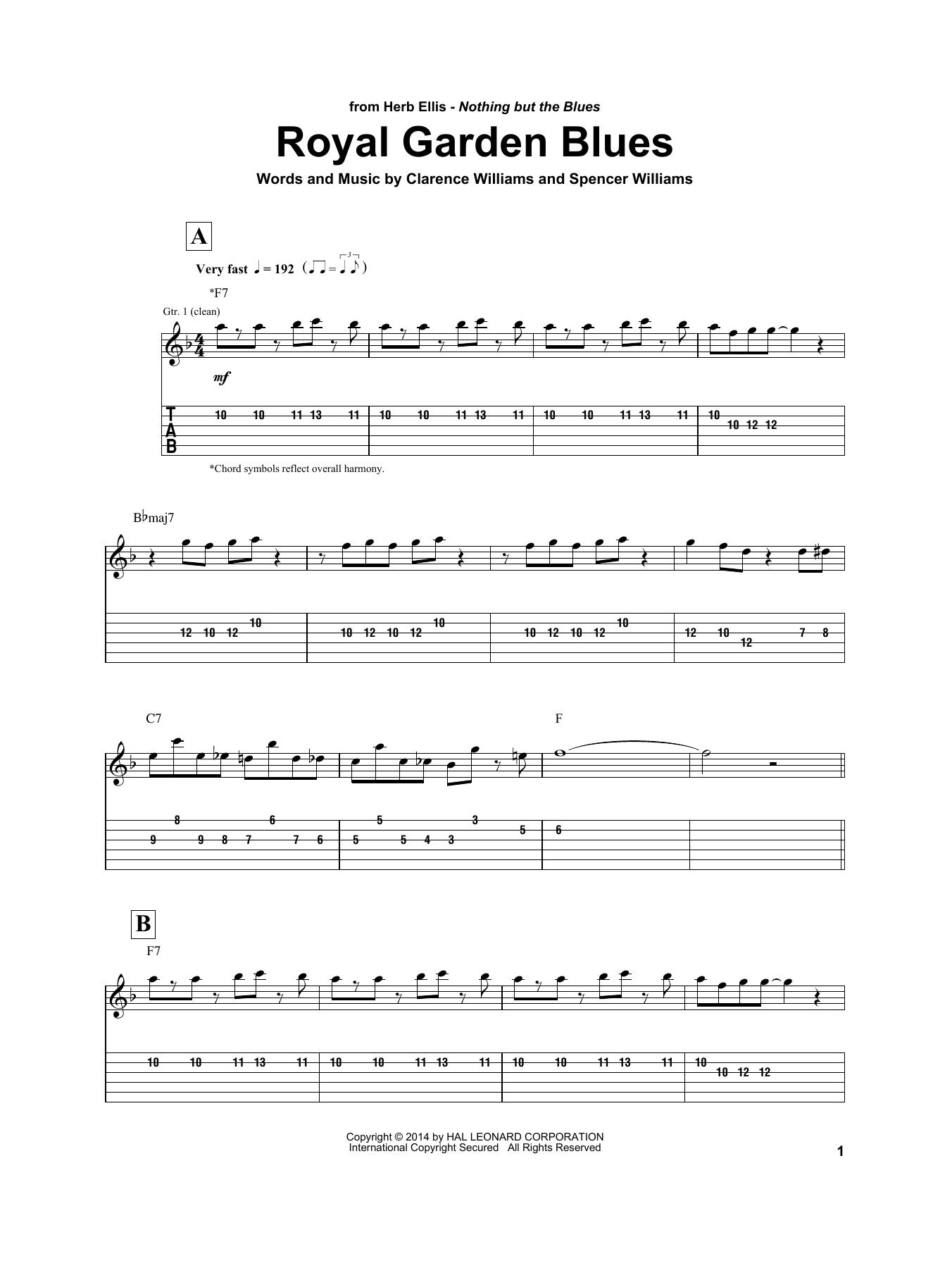 Herb Ellis Royal Garden Blues sheet music notes and chords