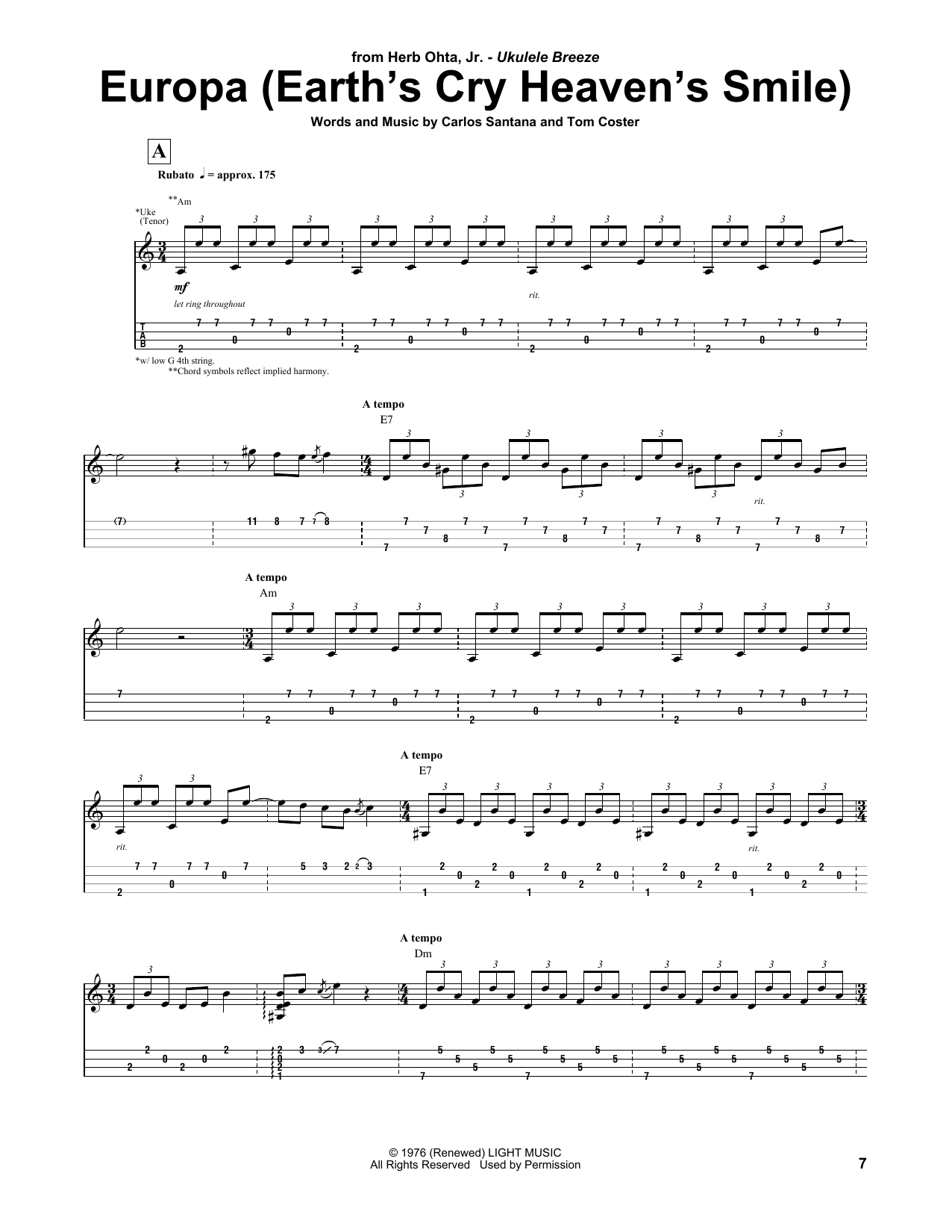 Download Herb Ohta, Jr. 'Europa' Digital Sheet Music Notes & Chords and start playing in minutes