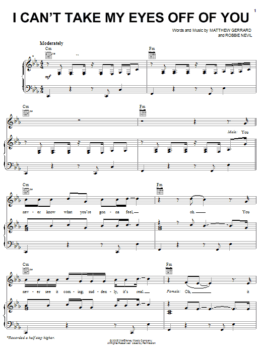 Download High School Musical 'I Can't Take My Eyes Off Of You' Digital Sheet Music Notes & Chords and start playing in minutes
