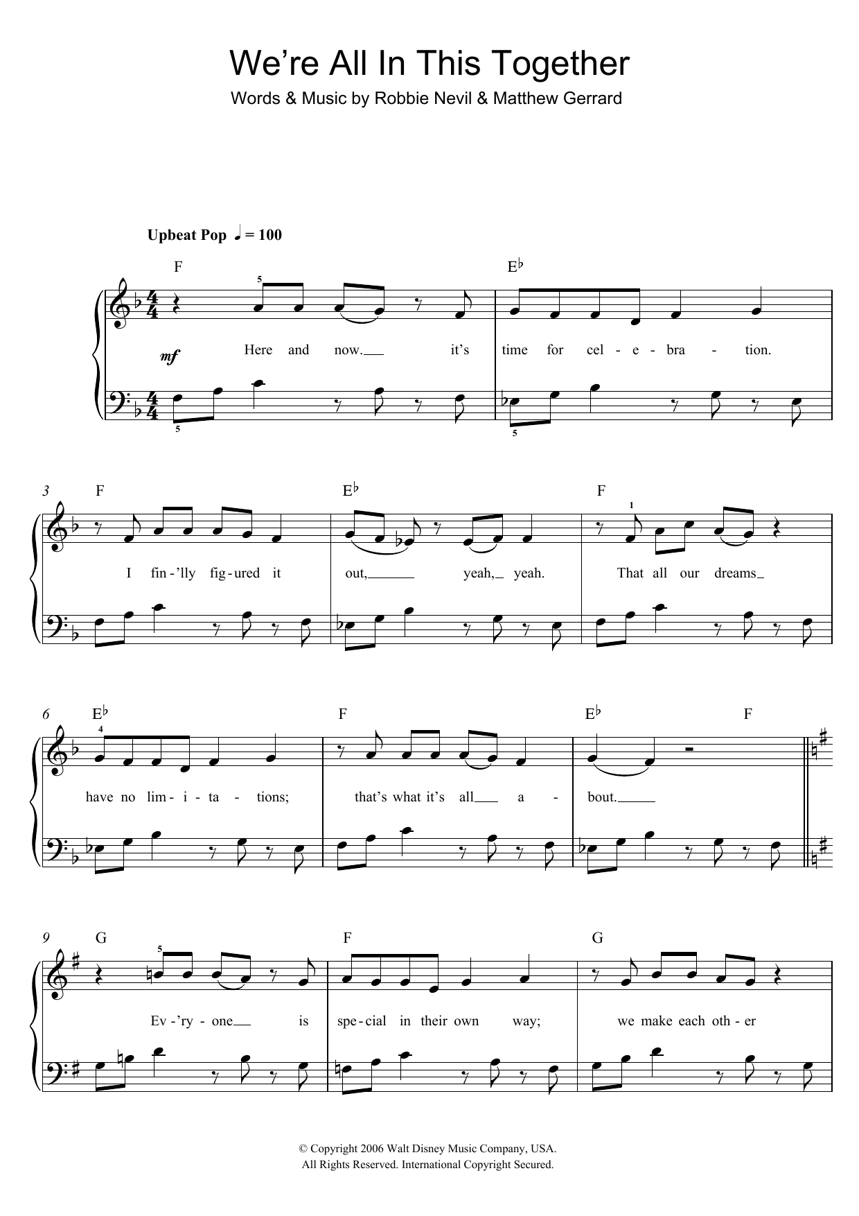 High School Musical We're All In This Together sheet music preview music notes and score for Easy Piano including 6 page(s)