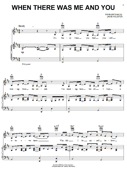 Download High School Musical 'When There Was Me And You' Digital Sheet Music Notes & Chords and start playing in minutes