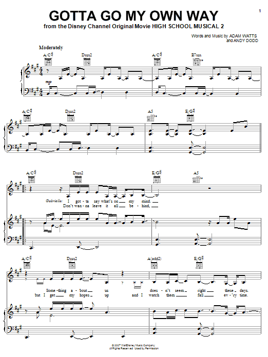 Download High School Musical 2 'Gotta Go My Own Way' Digital Sheet Music Notes & Chords and start playing in minutes