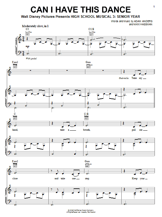 High School Musical 3 Can I Have This Dance sheet music notes and chords