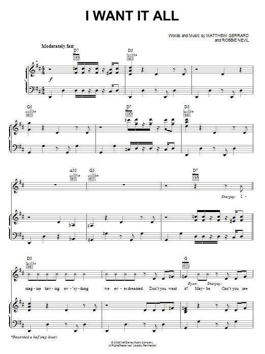 Download High School Musical 3 'I Want It All' Digital Sheet Music Notes & Chords and start playing in minutes