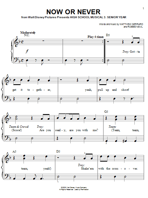 High School Musical 3 Now Or Never sheet music preview music notes and score for Piano Duet including 10 page(s)