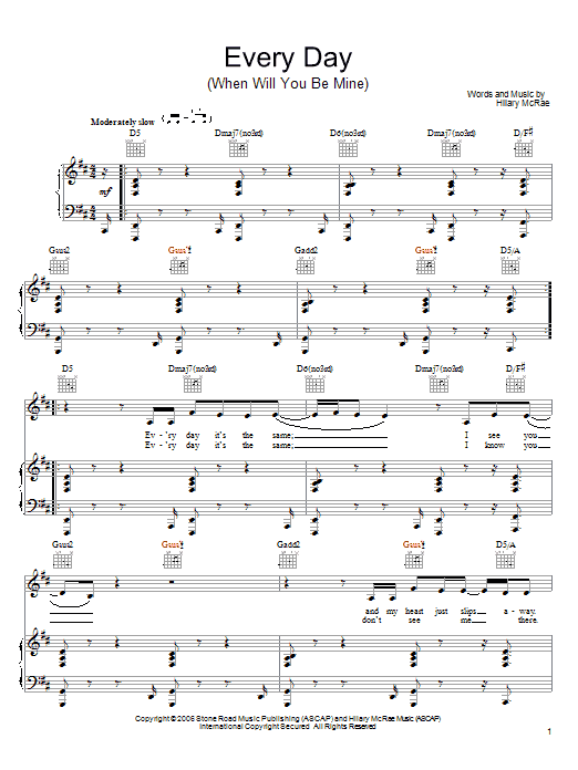 Hilary McRae Every Day (When Will You Be Mine) sheet music preview music notes and score for Piano, Vocal & Guitar (Right-Hand Melody) including 5 page(s)