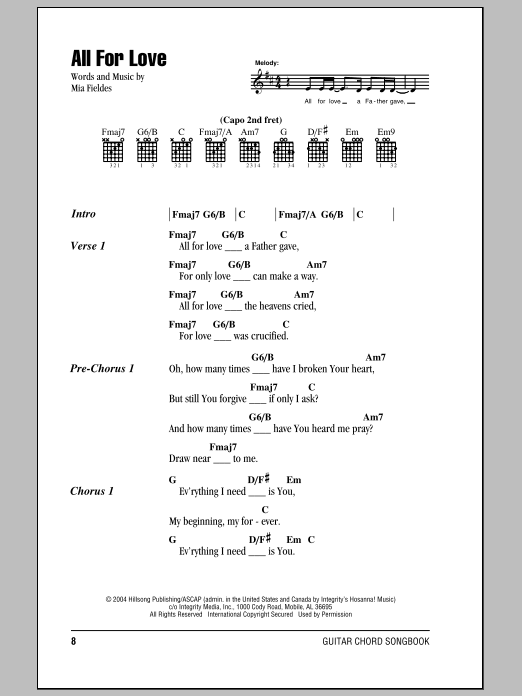 Hillsong United All For Love sheet music notes and chords