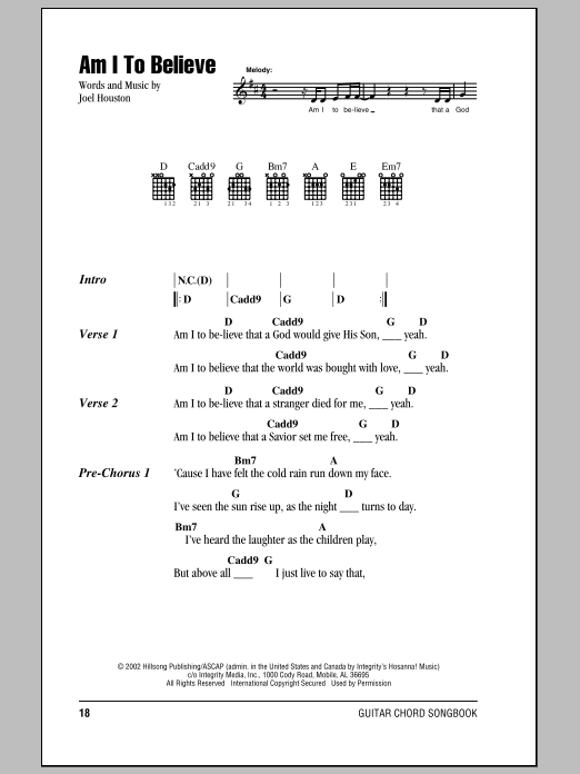 Hillsong United Am I To Believe sheet music notes and chords