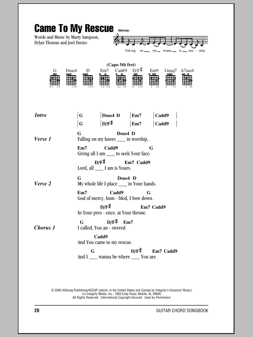 Download Hillsong United 'Came To My Rescue' Digital Sheet Music Notes & Chords and start playing in minutes