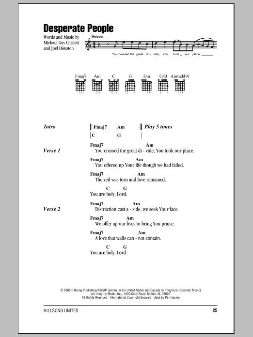 Hillsong United Desperate People sheet music notes and chords