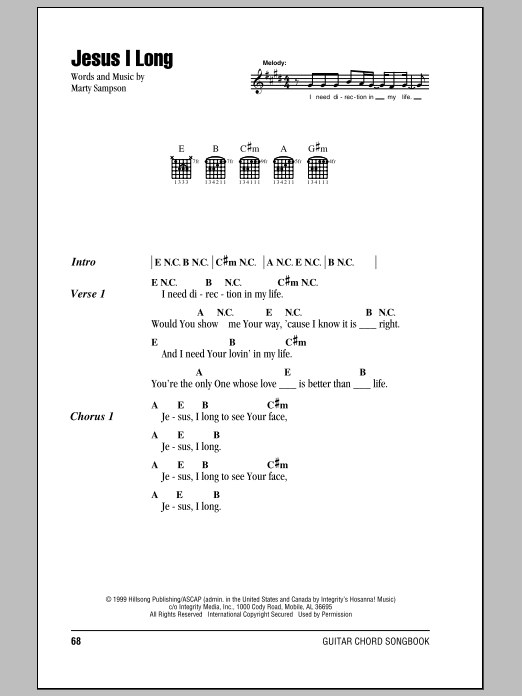 Hillsong United Jesus I Long sheet music notes and chords