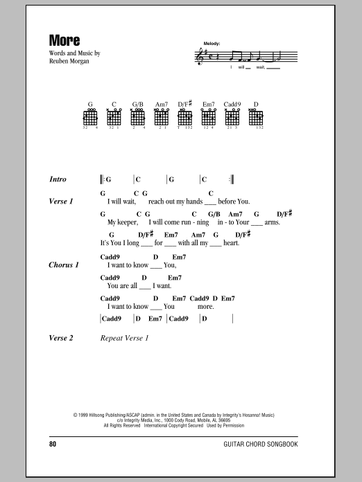 Hillsong United More sheet music notes and chords