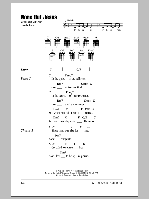 Brooke Fraser None But Jesus sheet music notes and chords