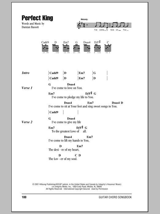 Hillsong United Perfect King sheet music notes and chords