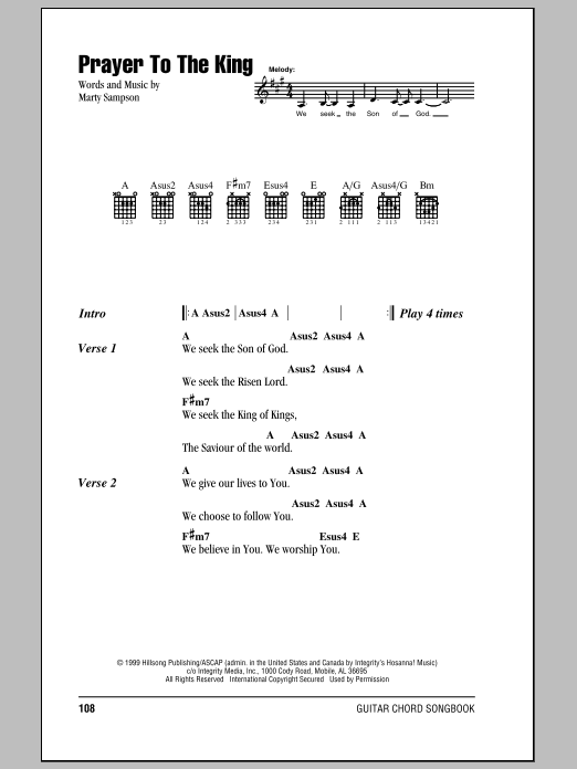Hillsong United Prayer To The King sheet music notes and chords