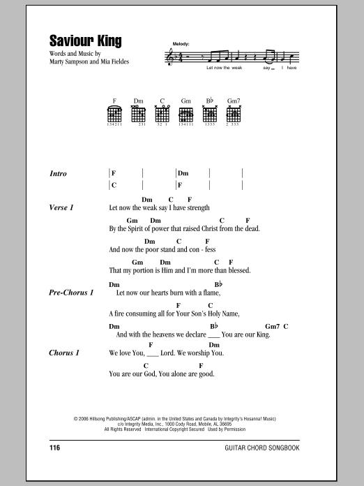 Hillsong United Saviour King sheet music notes and chords