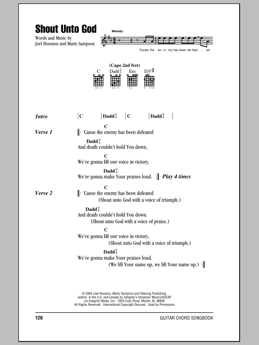 Hillsong United Shout Unto God sheet music notes and chords