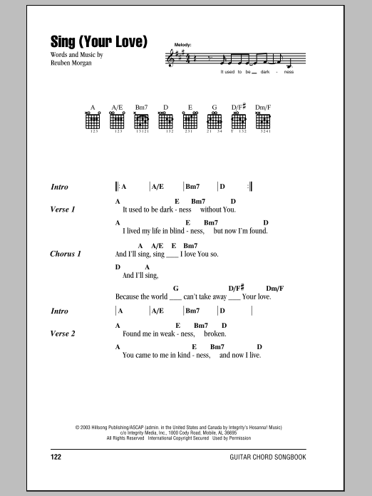 Hillsong United Sing (Your Love) sheet music notes and chords