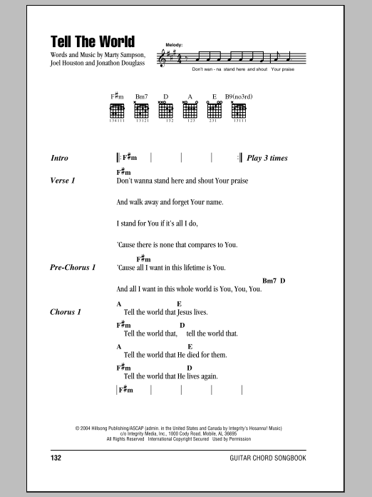 Hillsong United Tell The World sheet music notes and chords