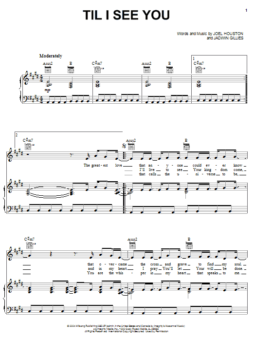 Hillsong United Til I See You sheet music notes and chords