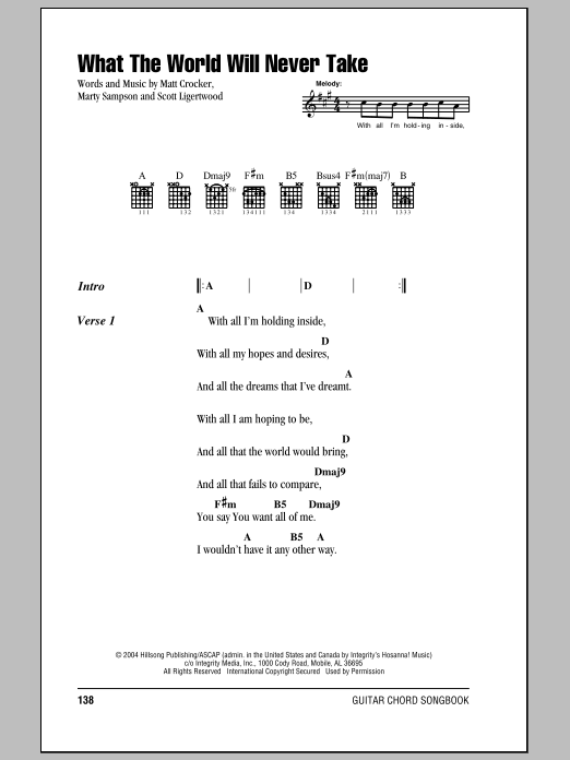 Hillsong United What The World Will Never Take sheet music notes and chords