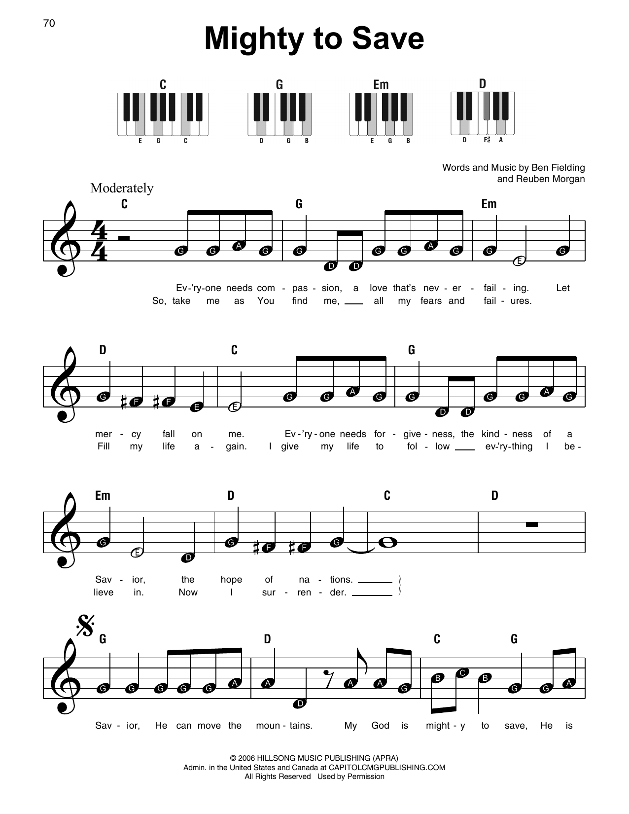 Hillsong Worship Mighty To Save sheet music preview music notes and score for Super Easy Piano including 2 page(s)