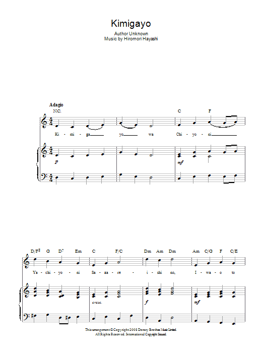 Hiromori Hayashi Kimigayo (Japanese National Anthem) sheet music preview music notes and score for Piano, Vocal & Guitar (Right-Hand Melody) including 2 page(s)