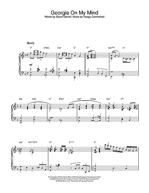 Download Hoagy Carmichael 'Georgia On My Mind' Digital Sheet Music Notes & Chords and start playing in minutes