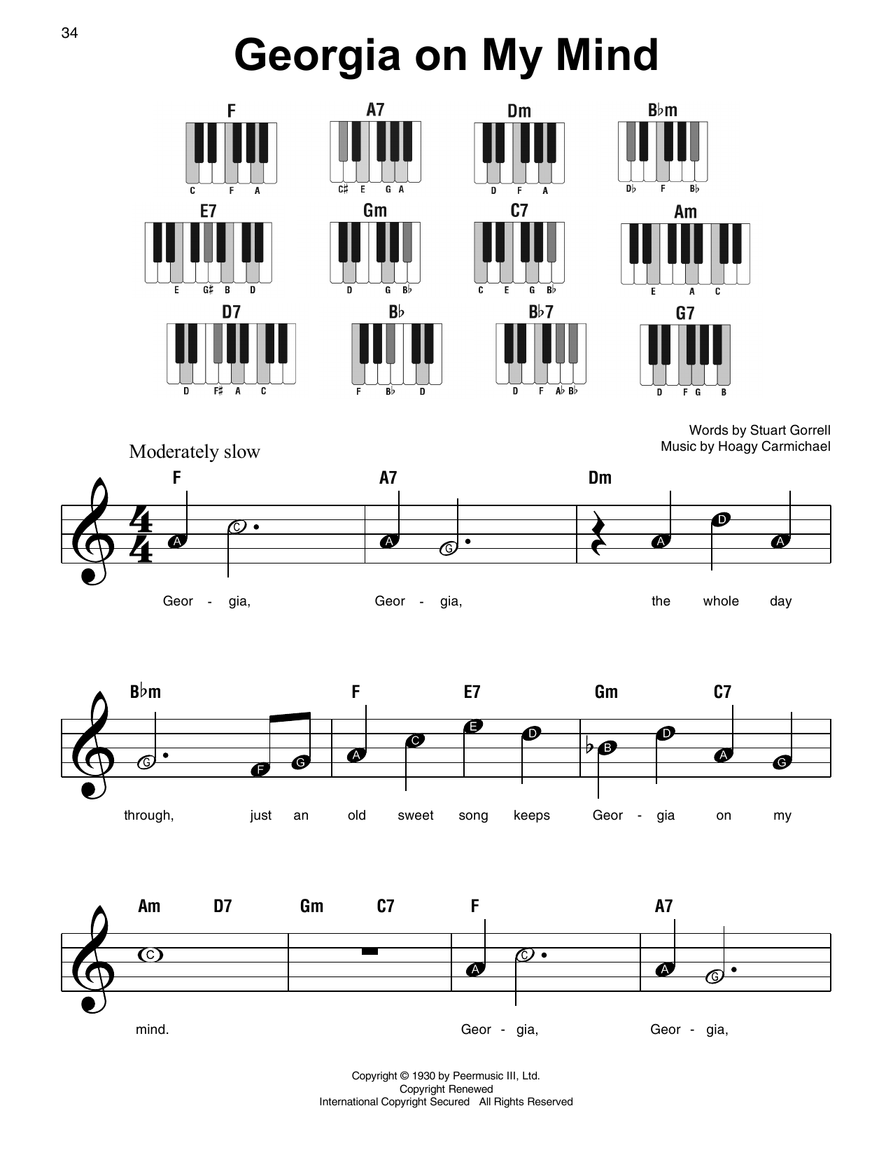 Hoagy Carmichael Georgia On My Mind sheet music notes and chords