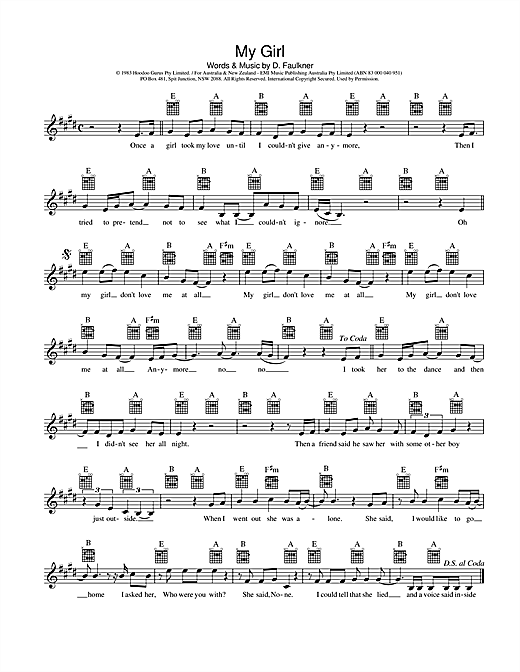 Hoodoo Gurus My Girl sheet music preview music notes and score for Melody Line, Lyrics & Chords including 2 page(s)