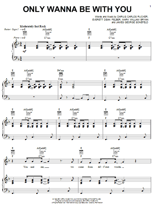 Hootie & The Blowfish Only Wanna Be With You sheet music preview music notes and score for Lyrics & Piano Chords including 4 page(s)